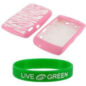 Pink Zebra Premium Silicone Skin Case Cover for Blackberry