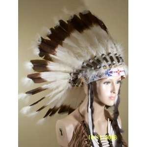 Native American War Bonnet Feather Headdress, Reproduction