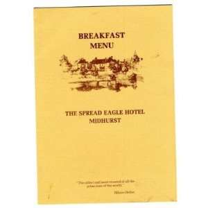 Spread Eagle Hotel Midhurst England Breakfast Menu