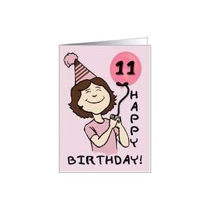 11 Year Old Girls Birthday Pink Balloon Card: Toys