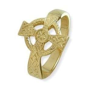 Ladies 14 Karat Yellow Gold Religious Celtic Cross Ring   5.5 Jewelry
