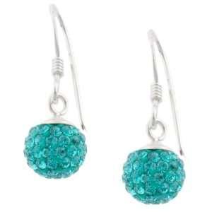 Sterling Silver Aqua Blue Crystal Ball Drop Earrings Jewelry