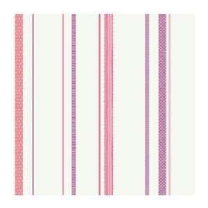 Girl Power 2 Ribbon Stripe Wallpaper, White Background/Pinks/Lilac