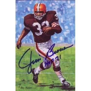 Jim Brown Autographed Cleveland Browns Goal Line Art