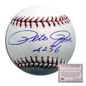 Pete Rose Cincinnati Reds Hand Signed Rawlings MLB Baseball with 4256