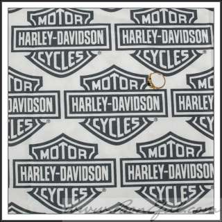 BOOAK Fabric Harley Davidson Logo Motorcycle B&W White Black Craft
