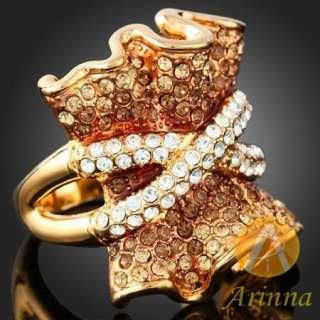 ARINNA Swarovski topaz Crystals 18K gold GP trendy Ring
