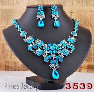 Blue Flowers In Clusters Drop Rhinestone Crystal Bridal Evening