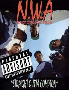 NWA Straight Outta Compton Ice Cube Dr Dre gangster rap 80s glossy