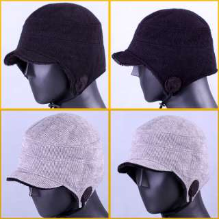 Fur Ear Flap Snowboard Winter Ski Cap Men Women Black Gray Hat / ZU T2