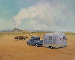 Airstream Yellowstone Vintage Travel Trailer RV ART