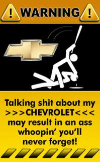 Chevrolet Truck Car Decal Sticker Warning Sign   1