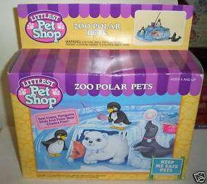 RARE Vintage Kenner Littlest Pet Shop Zoo Polar Pets