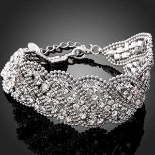 ARINNA Swarovski Crystal White Gold GP Chain Bracelet