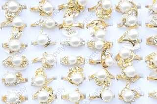 Wholesale lot 50 rhinestone freshwater pearl gold Rings