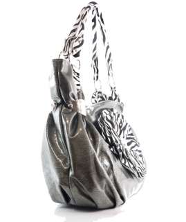 RHINESTONE ZEBRA FLOWER HOBO HANDBAG PURSE PEWTER GRAY