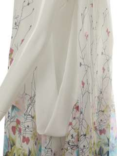 BAGGY OVERSIZE CHIFFON FLORAL DRESS LONG TOP WHITE #568