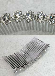 CLEAR RHINESTONE CRYSTAL HAIR COMB 4 BRIDAL BRIDESMAID WEDDING PARTY