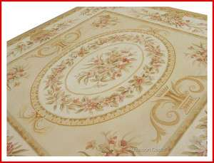 10X10 SQUARE Aubusson Area Rug PASTEL IVORY GOLD w PINK BEIGE CREAM