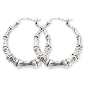 Bamboo Hoop Earrings in Silver   55m (2 1/8) Jewelry