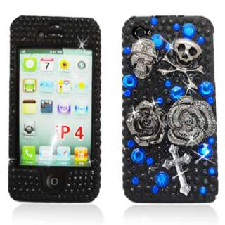 iPhone 4S 4G Skulls & Roses Black & Blue Diamond SnapOn Case Cover w
