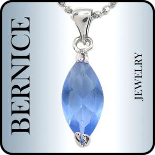 MARQUISE TANZANITE WHITE GOLD GP PENDANT NECKLACE