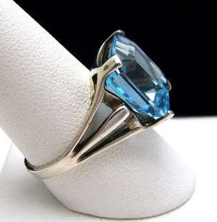 Gorgeous Vintage Sterling Ring Step Cut Blue Topaz Size 9