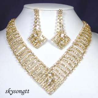 Swarovski Clear Crystal Bridal Pendant Gold Necklace Earrings Set