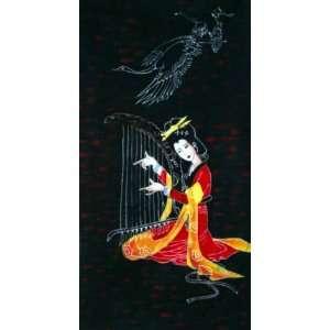 Batik Tapestry Art Ancient Beautiful Chinese Girl