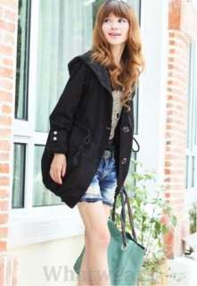 Womens Hoodie Cotton Trench Coat/ Jacket Black W13