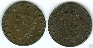 1822 CORONET LARGE CENT CHOICE ORIGINAL BU