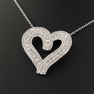 14K Womens White Gold Diamond Heart Charm Necklace .25