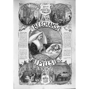 1887 ADVERTISEMENT BEECHAMS PILLS MEDICINE VENDORS