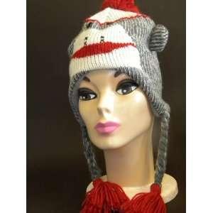 Knit Red Sock Monkey Brand New Animal Hat High Quality