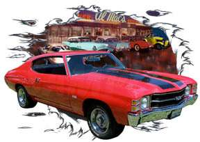 1971 Red Chevy Chevelle SS Hot Rod Diner T Shirt 71