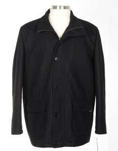 225 Guess Mens XXL 2XL Solid Black Wool Jacket Coat