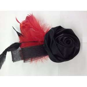 Black Rose With Red Feather Hair Clip Pin Brooch for Clothing Hats
