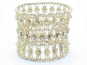 18KT YELLOW GOLD PLATED WHITE CRYSTAL WIDE DESIGN STRETCH BRACELET NEW