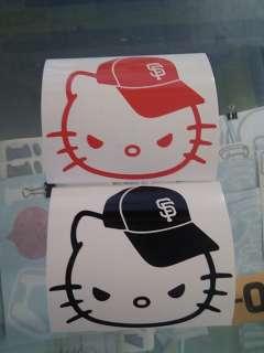 MEAN HELLO KITTY SF GIANTS CAP DECAL STICKER VINYL x 2