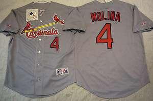 MAJESTIC St Louis Cardinals YADIER MOLINA SEWN Baseball Jersey GRAY