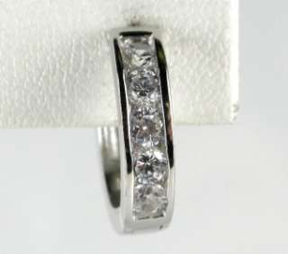 Sterling Silver .70ctw Round Cut White Sapphire Huggie Earrings 5.1g