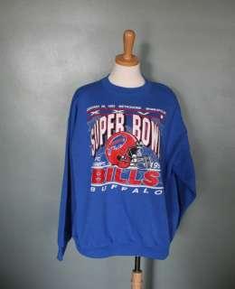 Vtg 90s Buffalo Bills Sweatshirt Men women XL blue Super Bowl 1992 AFC