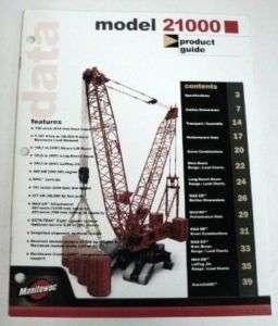 Manitowoc 2001 2100 Crane Sales Brochure