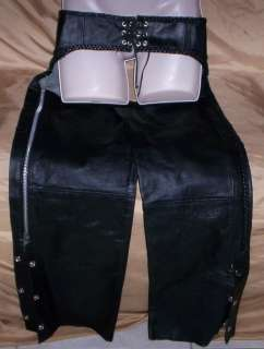 Womens Black leather Motorcycle Chaps Small