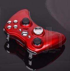CUSTOM MODDED XBOX 360 RED AND CHROME SILVER WIRELESS CONTROLLER SHELL