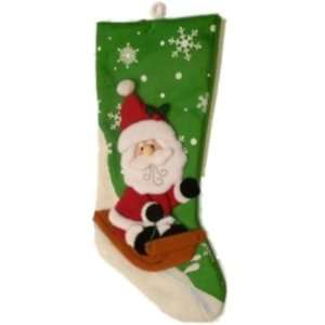 Holiday Time Green Felt Santa Claus Christmas Stocking with Snowflakes