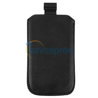 Black Leather Pouch+Privacy Film+Car Charger For iPhone 4 4th 16G 32G