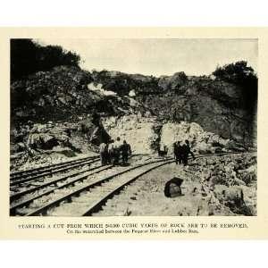 1909 Print Train Track Cut Rock Excavation Lubber Run