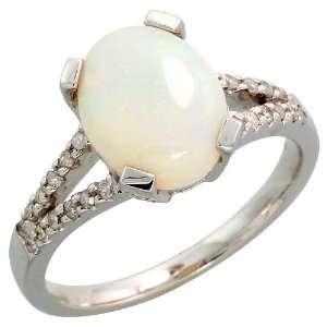 14k White Gold Stone Ring, w/ 0.22 Carat Brilliant Cut Diamonds & 1.50
