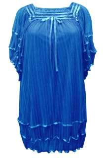LADIES PLUS SIZE BLUE RIBBON DETAIL DRESS #276